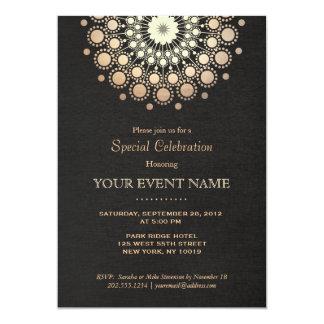 Elegant Faux Gold Foil Circle Motif Black Formal 5x7 Paper Invitation Card