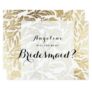 Elegant faux gold foil floral damask Bridesmaid Card