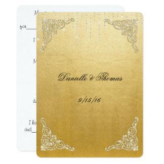 Elegant, Faux, Gold Foil, Glitter, Wedding Advice Card