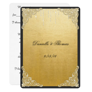 Elegant, Faux Gold Foil, Glitter, Wedding Advice Card