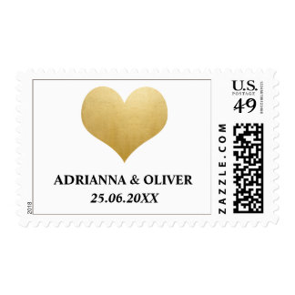 Elegant Faux Gold Foil Heart Wedding Postage