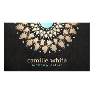 Elegant Faux Gold Foil Lotus Black Business Card