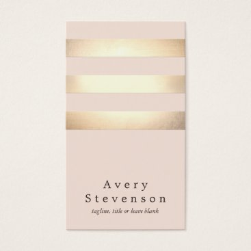 sm_business_cards Elegant Faux Gold Foil Striped Modern Light Pink Business Card