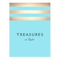 Elegant Faux Gold Foil Striped Turquoise Blue Postcard