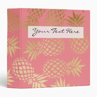 elegant faux gold foil tropical pineapple pattern binder