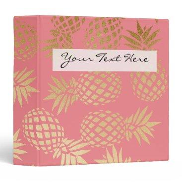 elipsa elegant faux gold foil tropical pineapple pattern binder