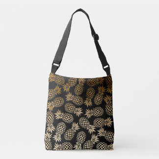 elegant faux gold foil tropical pineapple pattern crossbody bag