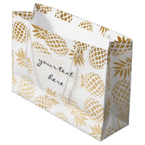 elegant faux gold foil tropical pineapple pattern large gift bag