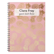 elegant faux gold foil tropical pineapple pattern spiral notebook