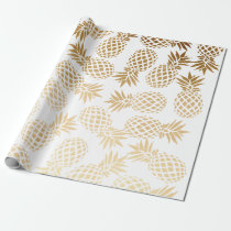 elegant faux gold foil tropical pineapple pattern wrapping paper