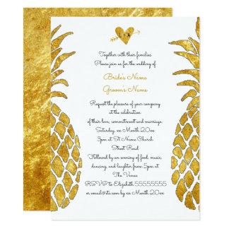elegant FAUX gold foil tropical summer wedding Invitation
