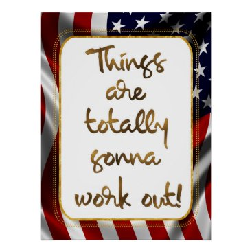 USA Themed Elegant Faux Gold Foil USA Flag Inspiring Quote Poster