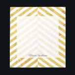 """Elegant Faux Gold Foil White Stripes Pattern Notepad<br><div class=""""desc"""">Elegant Faux Gold Foil White Stripes Pattern</div>"""