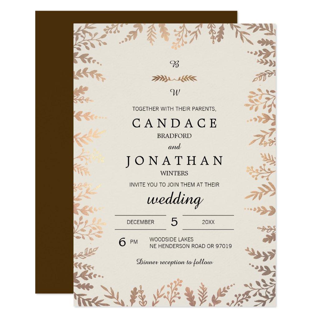 Wedding Invitations Houston 67 Amazing Elegant Faux Gold Foliage
