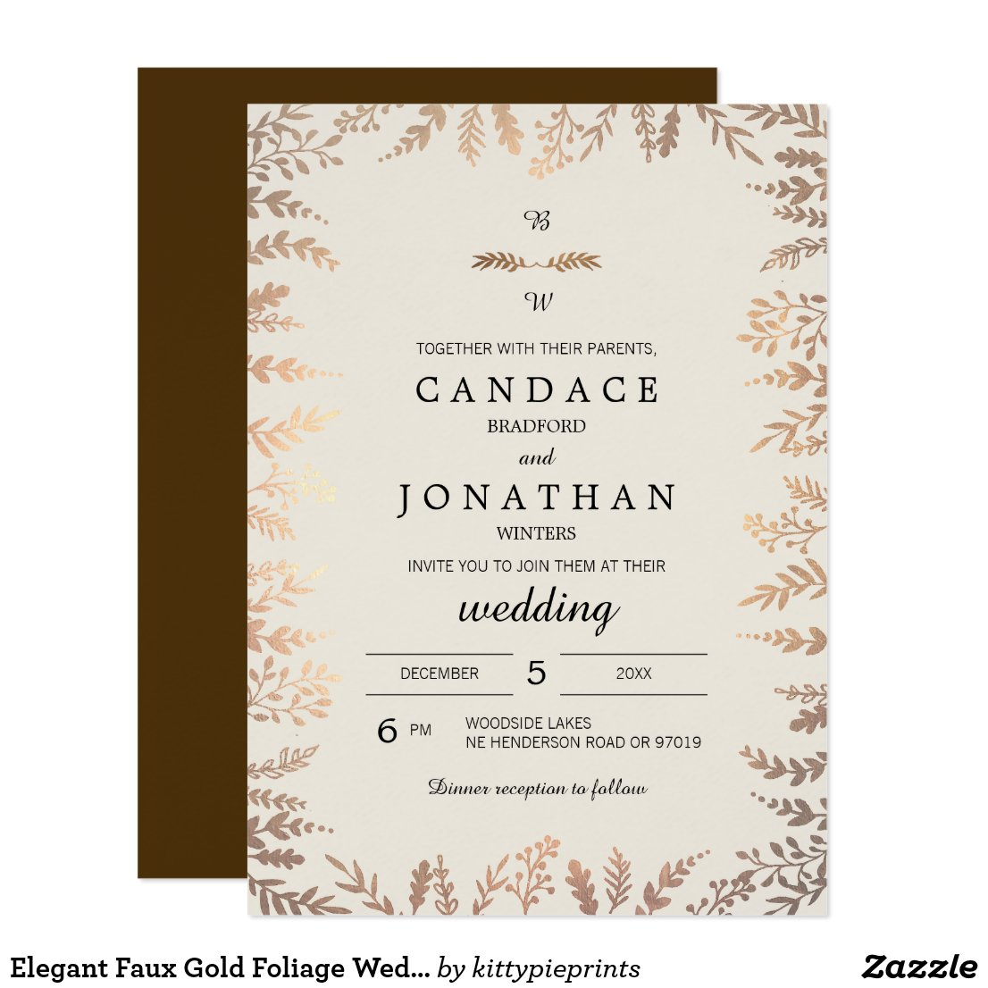 Elegant Faux Gold Foliage Wedding Card