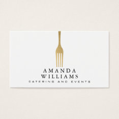 Elegant Faux Gold Fork Catering Logo Business Card at Zazzle