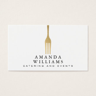 Elegant Faux Gold Fork Catering Logo Business Card