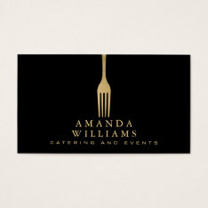 Elegant Faux Gold Fork Catering Logo On Black Business Card at Zazzle