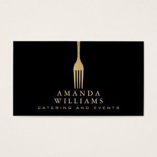 Elegant Faux Gold Fork Catering Logo on Black Business Card