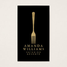 Elegant Faux Gold Fork Catering Logo On Black Ii Business Card at Zazzle