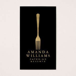 Catering business cards templates zazzle elegant faux gold fork catering logo on black ii business card colourmoves