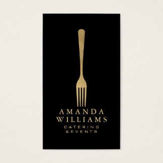 Elegant Faux Gold Fork Catering Logo on Black II Business Card