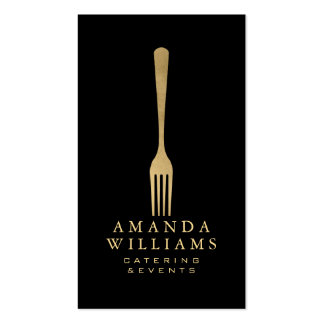 Elegant Faux Gold Fork Catering Logo on Black II Double-Sided Standard Business Cards (Pack Of 100)