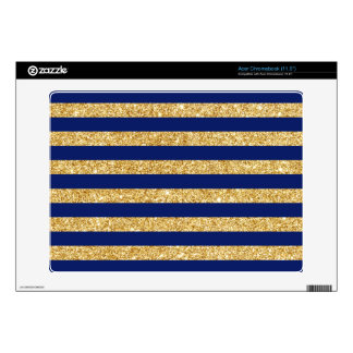 Elegant Faux Gold Glitter and Blue Stripe Pattern Acer Chromebook Decal