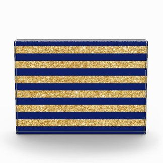 Elegant Faux Gold Glitter and Blue Stripe Pattern Acrylic Award