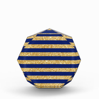 Elegant Faux Gold Glitter and Blue Stripe Pattern Award