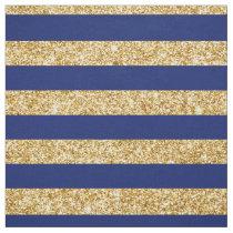Elegant Faux Gold Glitter and Blue Stripe Pattern Fabric