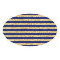 Elegant Faux Gold Glitter and Blue Stripe Pattern Oval Sticker