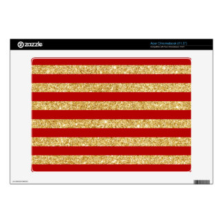 Elegant Faux Gold Glitter and Red Stripe Pattern Acer Chromebook Decal