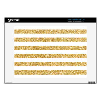 Elegant Faux Gold Glitter and White Stripe Pattern Acer Chromebook Decal