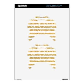 Elegant Faux Gold Glitter and White Stripe Pattern Xbox 360 Controller Skin
