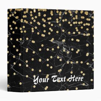 elegant faux gold glitter confetti black marble binder