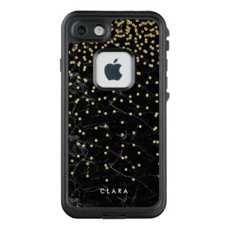 elegant faux gold glitter confetti black marble LifeProof FRĒ iPhone 7 case