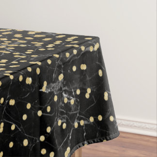 Elegant Faux Gold Glitter Confetti Black Marble Tablecloth