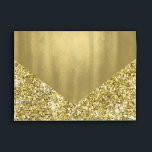 """Elegant Faux Gold Glitter Foil Envelope<br><div class=""""desc"""">Elegant gold foil invitation and announcement special occasion envelope with beautiful gold stripes and printed gold foil interior and flap. You can easily customize this gold card and invitation envelope for your needs. Add your return address to the back flap. This is a printed design with no real foil. You...</div>"""