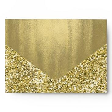 Elegant Faux Gold Glitter Foil Envelope