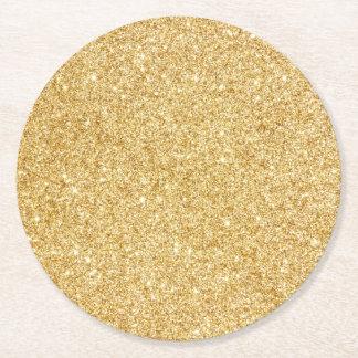 Elegant Faux Gold Glitter Round Paper Coaster