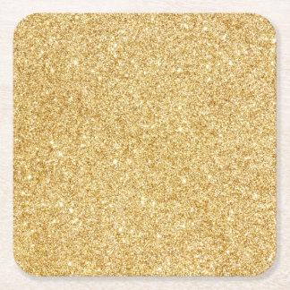Elegant Faux Gold Glitter Square Paper Coaster