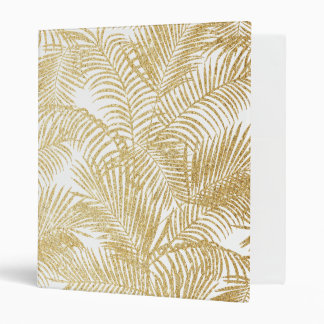 Elegant faux gold glitter tropical plants pattern binder