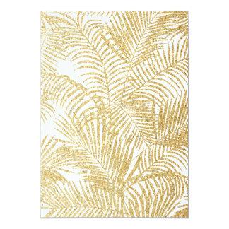 Elegant faux gold glitter tropical plants pattern card