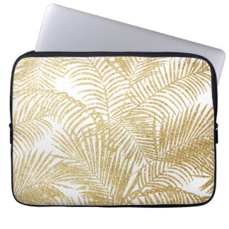 Elegant faux gold glitter tropical plants pattern computer sleeve