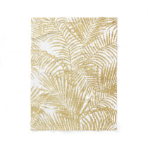 Elegant faux gold glitter tropical plants pattern fleece blanket