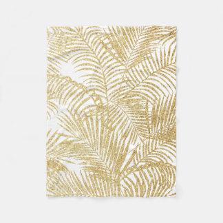 Elegant faux gold glitter tropical plants pattern fleece blanket