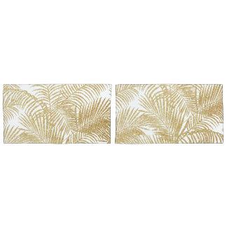 Elegant faux gold glitter tropical plants pattern pillowcase