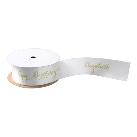 Elegant Faux Gold Happy Birthday Custom Name White Satin Ribbon