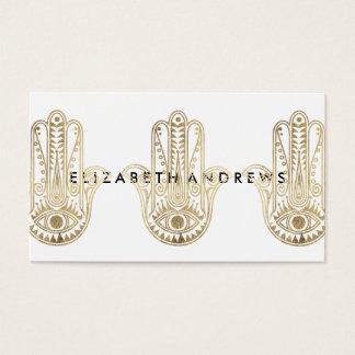 Elegant faux gold henna hamsa hand of Fatima Business Card